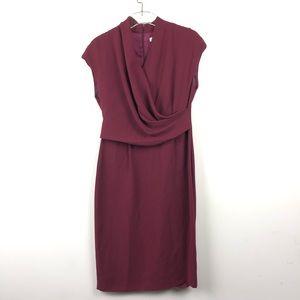 New MaxMara Maroon Front Drape Midi Dress